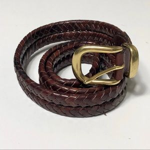 Coach Leather Braided Brass Buckle Belt